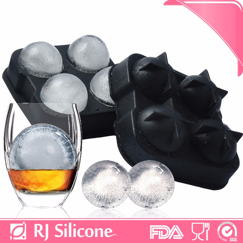 RJSILICONE hot sale ball shape ice cube tray 4 sphere ice ball maker molds round Silicone Ice Ball