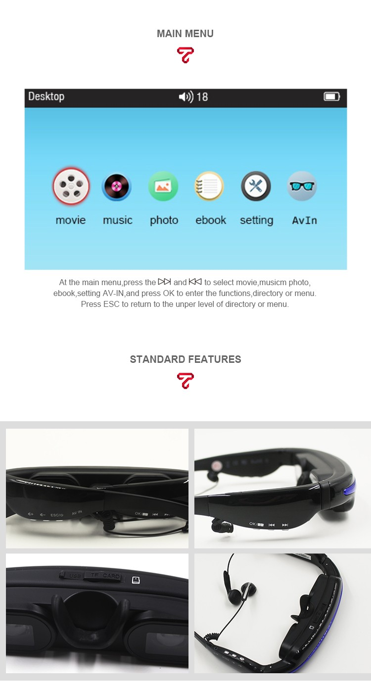 52 inch virtual screen private mobile theatre HD free video smart video glasses with momery card