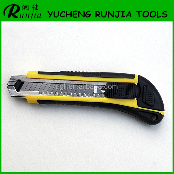 Multi-functional retractable Utility Knife auto-locked plastic handle snap carbon steel spare blade Factory direct sale
