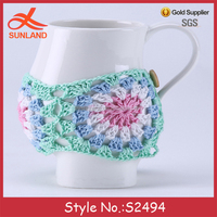 S2494 new style hollow out cable knit ceramic coffee mug cup cover with botton