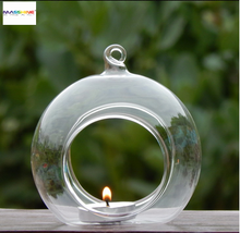 Clear borosilicate hanging glass heat reisstance glass ball Glass tealight Holder