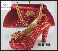 MS607 red bridal dress shoes african lady`s wedding shoe matching bags