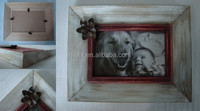 Wooden photo picture frame with metal flower