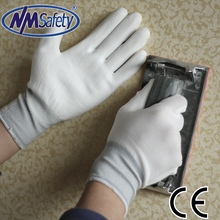 NMSAFETY 13 gauge white nylon/polyester shell pu coated gloves