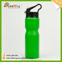 wholesale Promotion Green sport aluminium water bottles with round straw plastic PP lid