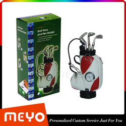 Novelty Custom Logo Painting Golf Clubs Design Ballpoint Pens And Pens Bag With Clock Decoration