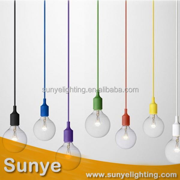 Colorful fabric textile cord pendant light 60w edison bulb ceiling lamp