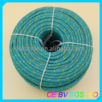 green/yellow and white/ blue 16-strand diamond braided polyester/nylon ropes
