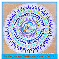 Large Turkish round reactive printed beach towel OEM available