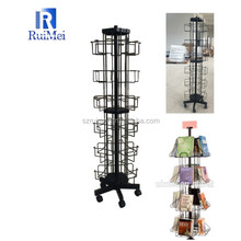 Rotating 6 tier floor comic book books display rack stand with open pocket