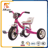 2016china new design children tricycle rubber wheels with head light