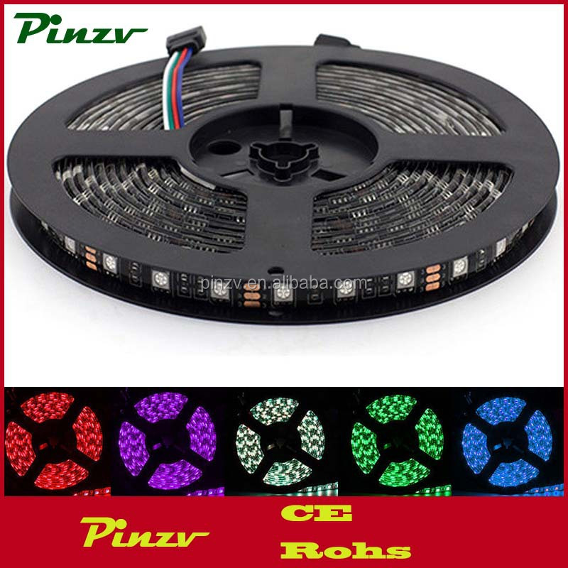 PZV-LEDStrip5050 RGB Waterproof 5M 5050 SMD 300 LED 60led/m Strip Light 12V Black PCB