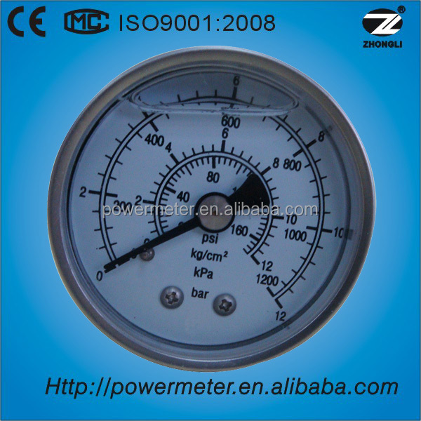 YBF-50D kg/cm2/bar/kpa/psi scale all stainless steel material back connection liquid filled pressure gauge