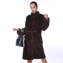 Y15A002 elegent Knee-length black natural real mink fur coat