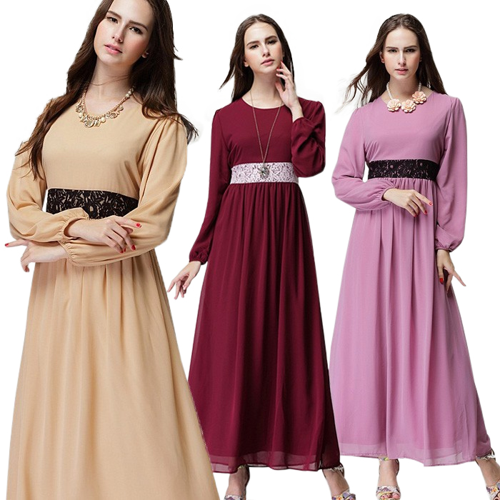 Maxi Dresses 2015 Long Sleeve Muslim Women Islamic Clothing Solid Color Chiffon Long Dress Lace Latest Abaya Designs