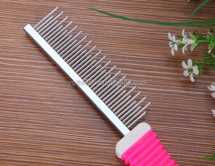 Plastic colorful comb dog comb with stainless pin dog comb pet brush