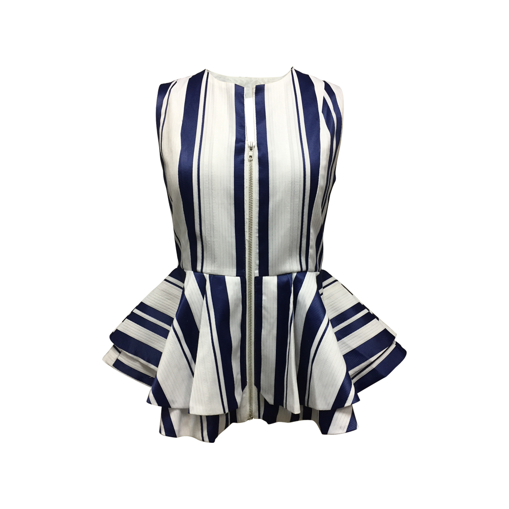 New Fashion 100% Polyester Women Ladies Classy Sleeveless Zip Front White Color Blue Stripes Designer Ruffled Top Blouse
