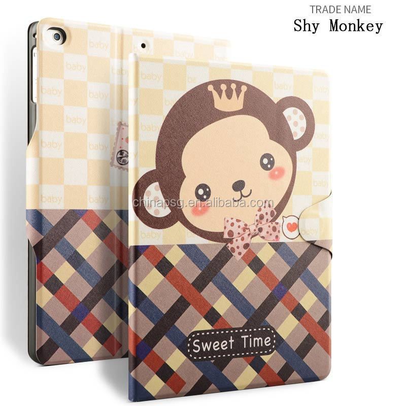 Printed Rotary Leather Case Stand Strap Designed color printing texture pu leather tablet cover for Apple iPad 56