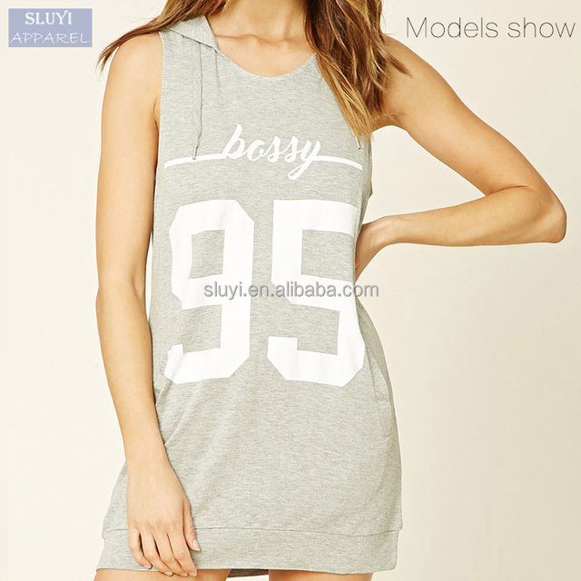custom cheap English letters pattern sleeveless hooded short night dress for women