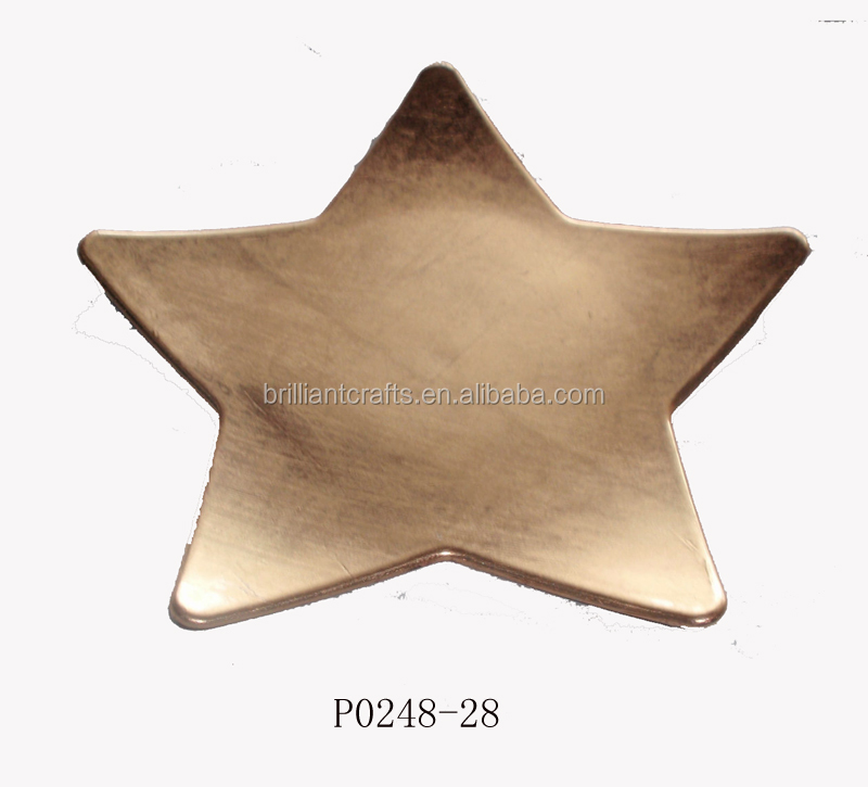 Events Decoration Star Shape Plastic Plate with Glitter Finish