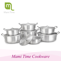 6pcs tri-ply deluxe tempered glass cover waterless cooking pot & kitchen pot