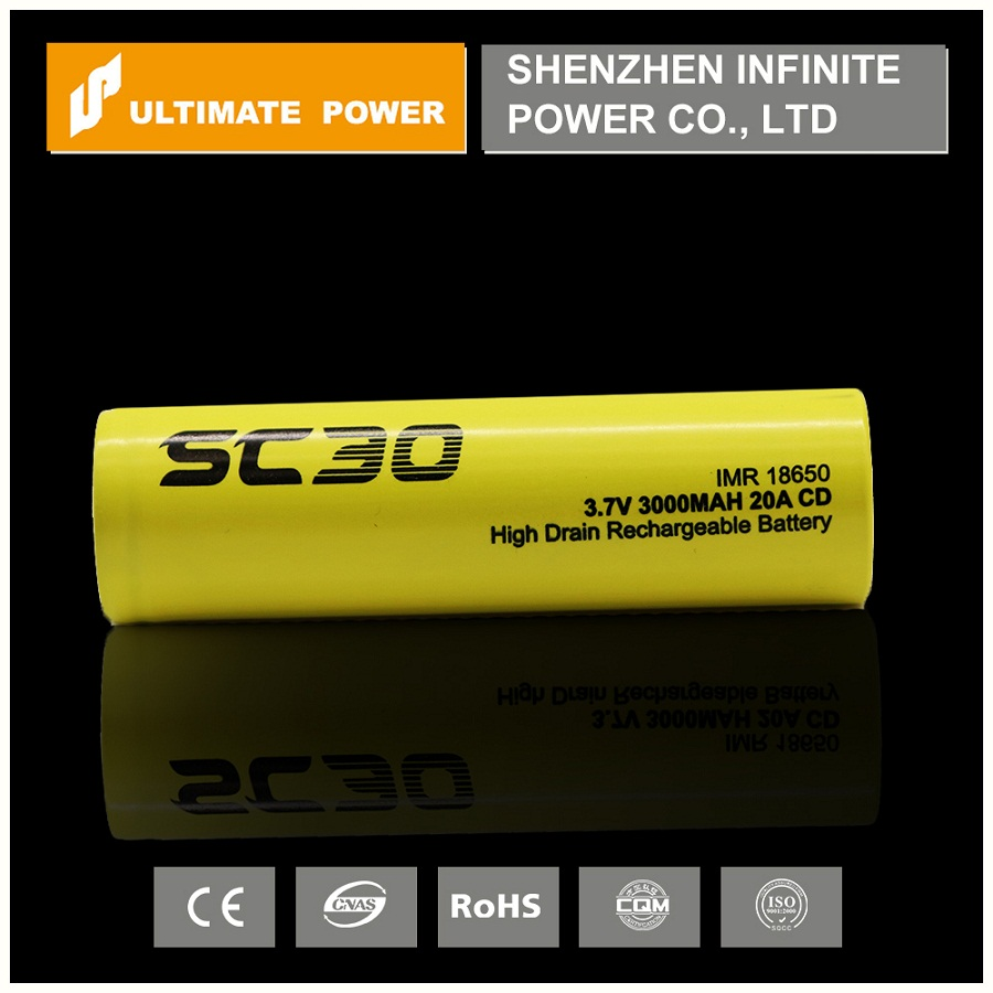 SC30 IMR18650 cylindrical yellow battery 2500mah 3.7v SC30 for 20a continuous discharge