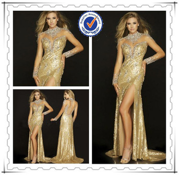 Luxury Long Sleeve Mermaid Gold Crystal Beaded Evening Dress