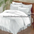 luxury hotel/home white cotton striped bed linen,flat sheet, duvet cover, pillow case