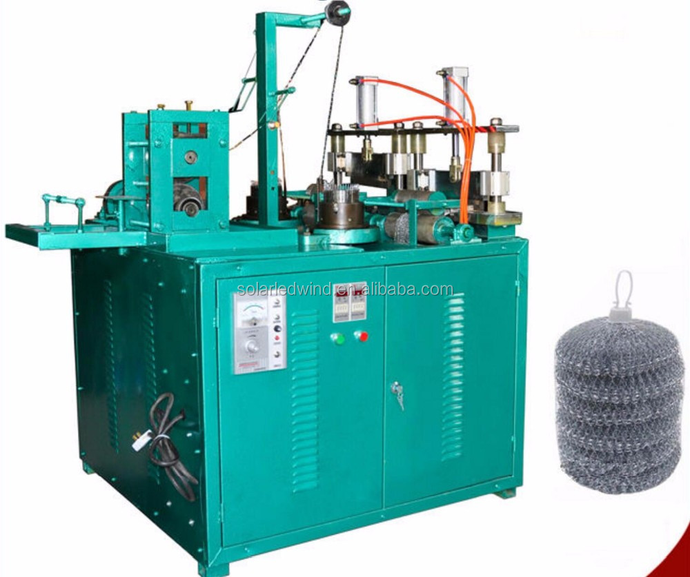 Automatical plastic cleaning ball and stainless steel cleaning ball knitting machine