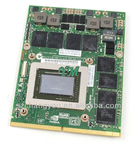 DP/N: 3MF8R Nvidia Geforce GTX580M Video Card For Dell Alienware M18X M17x M15x