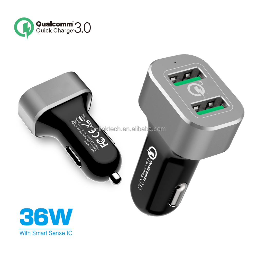 Quick Charge 3.0 36w power Car Charger with Dual Quick Charge 3.0 Ports with sence IQ TOUCH for Galaxy S7/S6/Edge, LG G4 & More