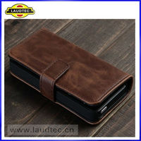 Hot selling wallet case for iphone 5,genuine leather case laudtc