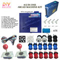 New Arcade DIY Accessories 412 In One + 16A Power supply + 16x Button + 2 Joystick For Arcade MAME JAMMA Games DIY 2Player