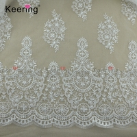 Bridal wedding dresses fabric white cotton lace trim WTPA-081
