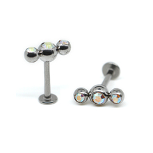 Non plated 316 stainless steel lip labret with three crystal gem ball