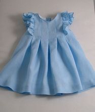 Kids girl party dress and little princess blue line for baby dress girl