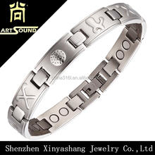 Double holes stainless steel mens magnetic bracelets for arthritis