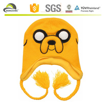 2015 bulk knit beanie hats for babies, yellow dog beanies with string