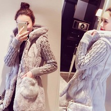 WA9283 Korean lady autumn and winter 2015 women's thick hooded woolen coats