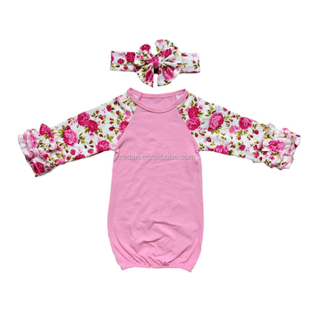 Newborn baby clothing one piece sleepsuit girls ruffle sleep bags with headband set