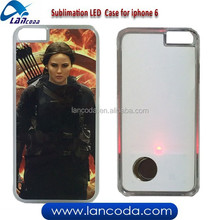 New arrival Sublimation flashing LED phone Case for iphone6,sublimation LED case, LED sublimation phone cover
