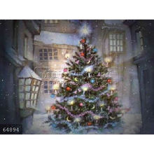 Hand painted Christmas Scene oil painting on canvas, Christmas Tree-Winter