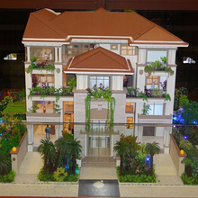 Refined villa model with miniature building and figures scale 1:100