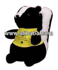 Stuffed plush skunk,squirrel,giraffe,wolf,tiger,moose,cream bear,white horse,alligator,beaver,bulldog,chicken,corey steer,monkey