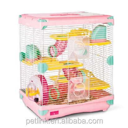 New Product Large 3 Layers Hamster Cage with Exercise Wheel, Water Bottle, Tube