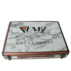 red aluminium quartz stone sample display box with strong handle and logo print