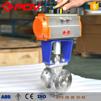 ISO Flanged V Type Pneumatic Ball Valve DN150