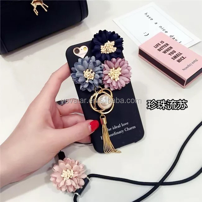 Flowers Sea Tassel Pendant For iPhone 6 Case With Rope Phone Case for iphone 6 case
