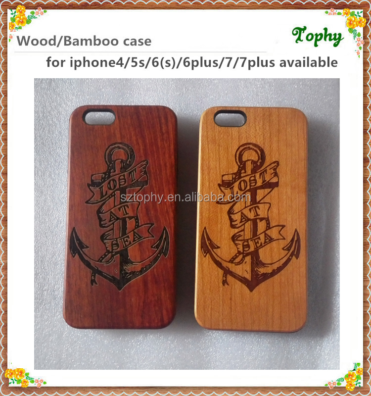Laser pattern engraving logo bamboo phone case wooden shell cover for iphone SE cases for iphone 6s 7 case