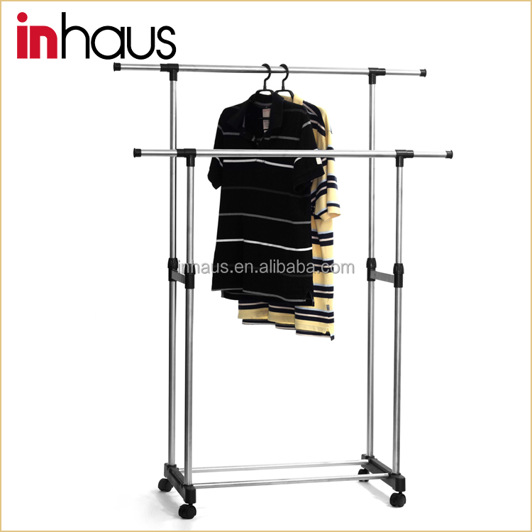 Double rail telescopic stainless steel heavy duty movable garment rack with w - Double rail coulissant ...